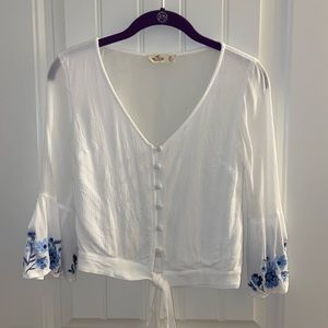 hollister embroidered blouse